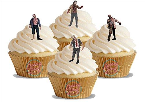 echte Zombie Mix 12 essbare Standup Kuchen-Deko, Kuchendekorationen, essbar, Premium, 2 x A5, für 12 Bilder (Sind Halloween-kürbisse Essbar)