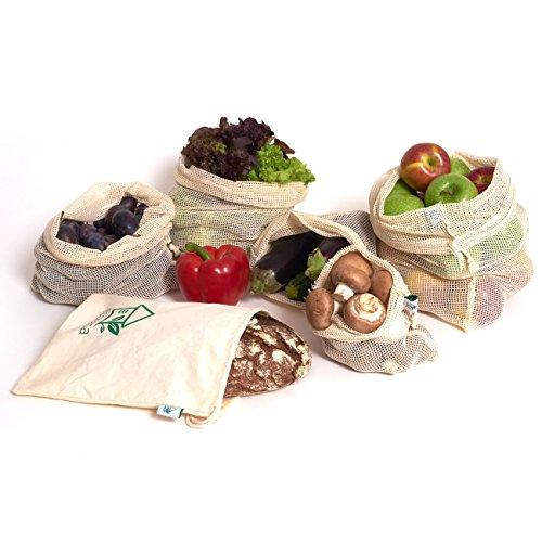 Obst- und Gemüsebeutel Einkaufstaschen mit Brotbeutel von ecocasa aus Baumwolle – plastikfrei - wiederverwendbar - Shopper Netz 6er SET aus 1x S, 2x M, 2x L, 1x Stoffbeutel | INKLUSIVE Erntekalender + Tipps ebook