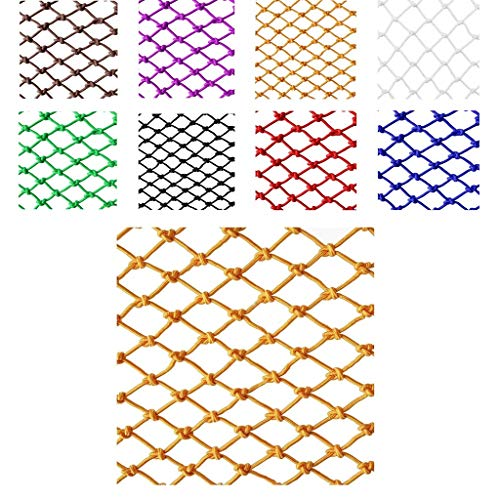Sicherheitsnetz Schutznetz Seilnetz, Kinder Haustier Balkon Treppe Anti-Fall-Netz Waren Netz Seil Farbe Dekorative Net Nylon-Mesh-Zaun (Spezifikation: 4 Mm Seil 5 cm Loch) (Farbe: Gelb)
