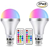 NetBoat Colour Changing Light Bulbs,2Pack 10W B22 RGBW LED Light Bulbs Dimmable,Remote Controller Included for Home/Decoration/Bar/Party/KTV Mood Ambiance Illumination