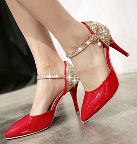 Aisun Damen Elegant Geschlossen Lackleder Paillette Knöchelriemchen Stiletto Sandale Rot