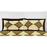 "Linenwalas 144 TC 100% Premium Cotton Pillow Cases - Moroccan Damask - Print Pillow Covers - 17""x27""- Brown Gold - (Set Of 2)"