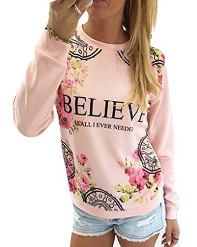 Minetom Femme Floral Print Sweatshirt Hoodies Manches Longues Decontracte Hauts Blouse pink