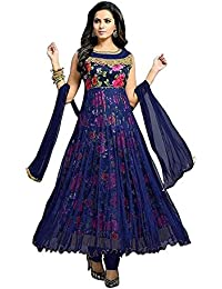 ff1903632d2 Drashti Villa Women s Bangalory Silk Printed and Net Anarkali Gown (Free  size)