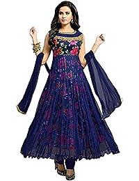 69ec5d09488 Drashti Villa Women s Bangalory Silk Printed and Net Anarkali Gown (Free  size)