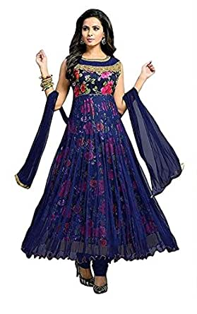 Dhruv Fab Women's Georgette Semi-Stitched Printed Anarkali Gown (Blue Color_Free Size)