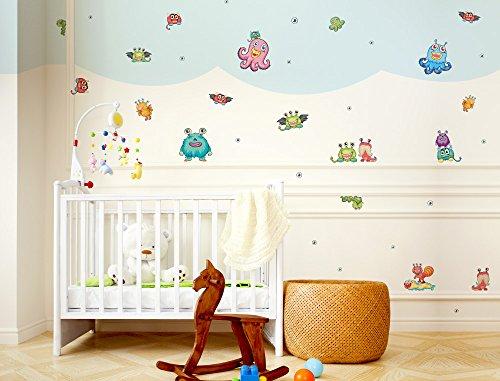 """I-love-Wandtattoo WAS-10325 Kinderzimmer Wandsticker Set """"Farbenfrohe Monster Figuren"""" 22 Stück zum Kleben Wandtattoo Wandaufkleber Sticker Wanddeko"""