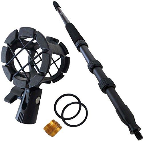 KEEPDRUM MPB01 Boompole PRO 3m Tonangel + PCMH1 Mikrofon-Spinne elastische Halterung Shockmount (Für Boom Dslr Mikrofone)
