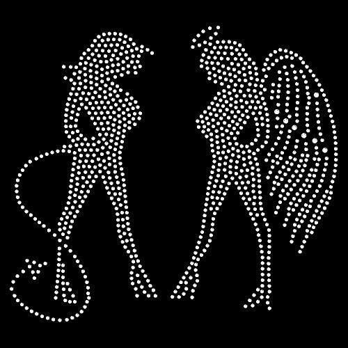Strassmotiv - sexy Engel und Teufel Aufbügeln Strassdeko -