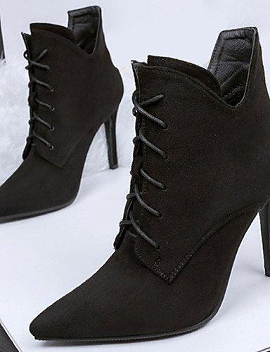 WSS 2016 Chaussures Femme-Décontracté-Noir / Vert / Gris-Talon Aiguille-Talons-Talons-Laine synthétique black-us5 / eu35 / uk3 / cn34