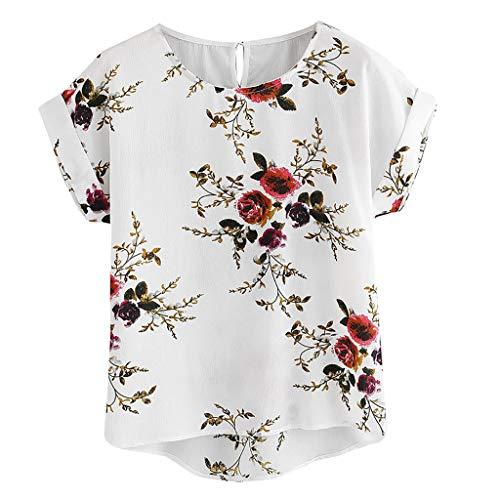 TWIFER Damen O Ausschnitt Blumendruck Sommer T Shirt Kurzarm Shirt Pullover Tops