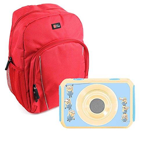 Duragadget zaino rosso + custodia impermeabile per videocamera digitale lexibook cars move cam dja400dc - frozen move cam dja400fz - cattivissimo me dja400des - nylon di alta qualità
