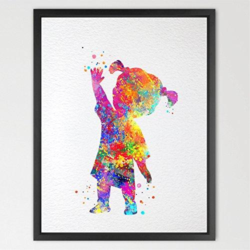 dignovel Studios Boo Monsters Inc Aquarell-Print Kids Art Kinderzimmer Decor Wall Art Poster aufhängen Disney Art Hochzeit Geschenk Baby Dusche n393-unframed