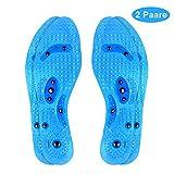 WODETREE 2 Paar Magnetische Einlegesohlen Euphoric Feet Akupressur Einlegesohlen gegen Fußschmerzen Orthopädische Insoles Fuß Massageeffekt Einlagen für Damen/Herren Blau (29cm) MEHRWEG