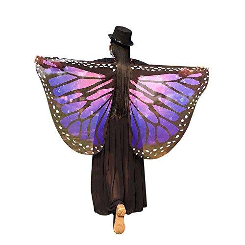 Karneval Schmetterling Kostüm, Mehrfarbig Schmetterling Flügel Nymphe Pixie Poncho Schal Kostüm Weiche Gewebe 147 * 70CM - Fasching Zubehör für Show/Daily/Party