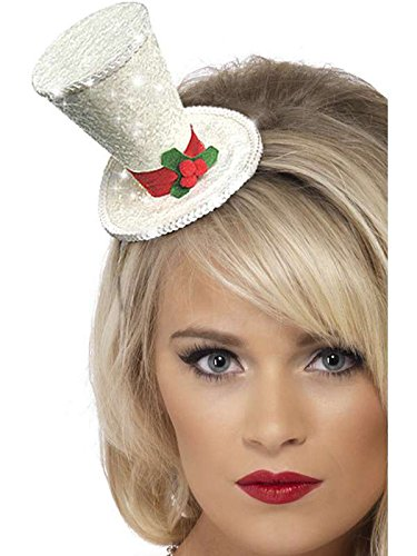 mini Top Hat Headband-White with Green Holly
