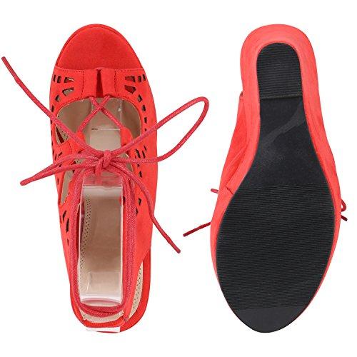Damen Sandaletten Glitzer   Keilsandaletten Schnallen   Bast Wedges Muster   Plateauschuhe Keilabsatz   Party Abiball Schuhe  Zierperlen Metallic Strass Rot Schnürer