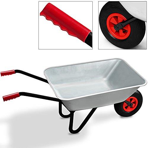 Monzana® Schubkarre 80 LITER ✔Transportwagen Gerätewagen Gartenkarre ✔bis 200kg Belastbarkeit ✔Luftbereift ✔stabile Ausführung ✔verzinkte Aufliegewanne ✔Gummigriffe