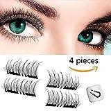 Magnetische Falsche Wimpern 3D-Fiber auf Mode, Wiederverwendbare Künstliche Gefälschte Wimpern ohnen Kleber ultra-dünne handgefertigt natürlich, 2018 New Collection(1 Paar 4 Stuck)