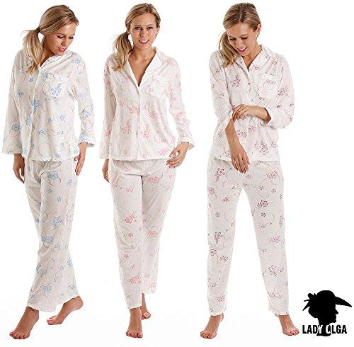 Damen Lady Olga Geknöpftes Negligés 1084 rosa oder blaue Blumen Rosa-Damen-Jersey Langarm-Pyjamas
