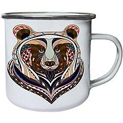 Hermosa cara de oso Retro, lata, taza del esmalte 10oz/280ml w675e