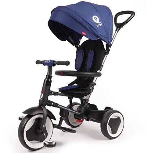L&E Qualitäts Dreirad 10-36 Monate Kinderdreirad mit Lenkstange Rito Deluxe blau 860