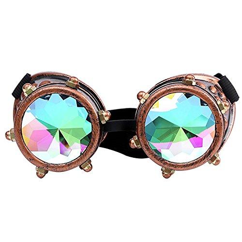 Kaleidoscope Goggles Rainbow Rave Prism Beugung Diffraction Eyewear Regenbogen Linsen Neuheit Sonnenbrille Cosplay Brillen Kaleidoscope Toy (C Kaffee)