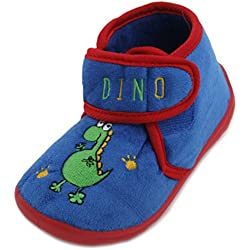 Kids niños Slumberzzz Animal bordado Velcro microfibra zapatillas, color azul, talla 28 EU (infantil)
