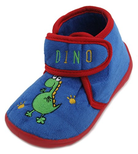 Kids niños Slumberzzz Animal bordado Velcro microfibra zapatillas, color azul, talla 28 EU (infantil)