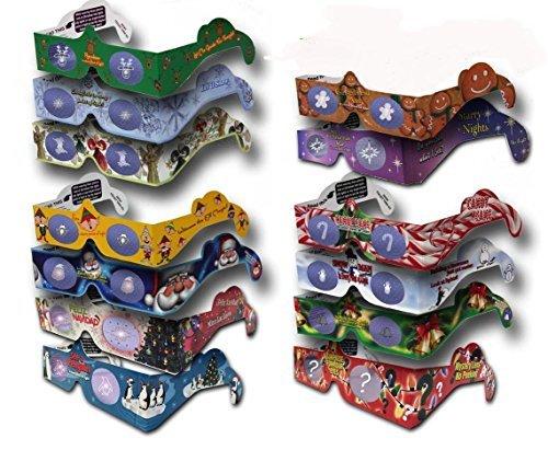 22 Paar 3D-Brillen, für Weihnachten und Neujahr, 11 Verschiedene Designs - Jede zusammengeklappt in Einer Wiederverwendbaren Hülle - 3Dstereo Holiday Eyes