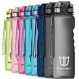 Trinkflasche, Degbit [BPA Frei Tritan] 1L Auslaufsicher Kunststoff Wasserflasche Trinkflaschen Sport, Flip Top Öffnet mit 1-Klick, Sportflasche Fahrrad Flasche für Kinder, Yoga, Camping Freien