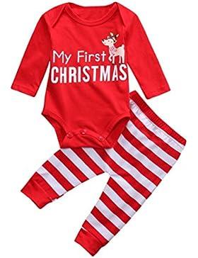 Kobay Weihnachten Neugeborene Baby Mädchen Jungen Outfits Kleidung 2 Stücke Deer Romper + Hosen Set