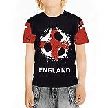 BesserBay Mädchen England Fan T-Shirt WM 2018 Fußball Team Motiv Trikot U1109 98/104