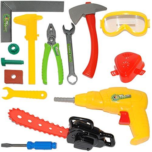 alles-meine.de GmbH 14 TLG. Set -  Bauarbeiter & Handwerker - Werkzeug & Akkuschrauber / Bohrmaschine  - für Kinder - Kinderwerkzeug - Rohrzange - Holzstück - Hammer - Schraube.. (Handwerker-akkuschrauber)