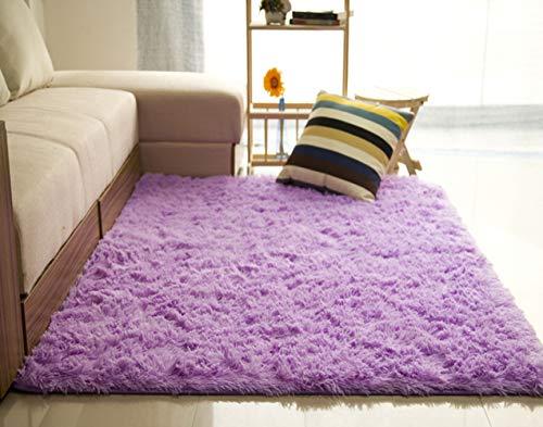 Liveinu tappeto shaggy rettangolo tappeti soggiorno pelo lungo antiscivolo lavabili moderni moquette 60x120cm viola