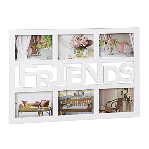 Freunde Galerie (Relaxdays Bilderrahmen Freunde, Galerierahmen für 6 Fotos, Fotocollage Rahmen, quer, Kunststoff, HBT: 33x48x1,5 cm, weiß)