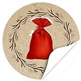 48 Weihnachtsaufkleber Weihnachtssack - für Geschenke zu Weihnachten / Sticker / Aufkleber / Etiketten / Rund