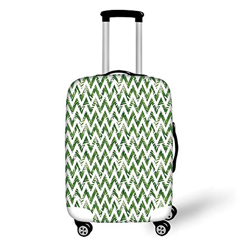 Travel Luggage Cover Suitcase Protector,Palm Leaf,Chevron Motif Zigzag Lines with Green Palm Leaves Modern Artistic Summer Theme Decorative,Green White,for TravelM 23.6x31.8Inch Line-palm Protector