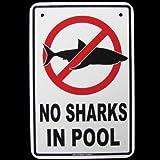 Keine Haie in Schwimmbad Achtung Funny Gefahr Schild AD