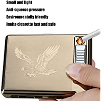 Sun_lighter - pitillera-encendedor de metal Sunwbak (20 unidades, con cable USB, recargable, sin llama, resistente al viento), ideal para regalo de cumpleaños.