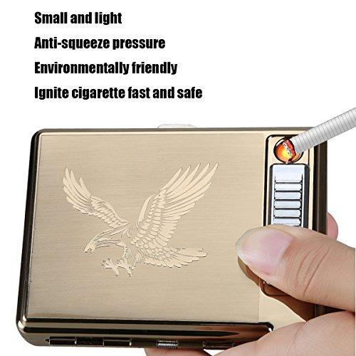 Sunwbak Zigarettenetui mit Feuerzeug aus Metall für eine Packung mit 20 Zigaretten, USB-Zigarettenanzünder zum Wiederaufladen, flammenlos, Wind-dicht mit USB-Kabel, Ideal als Geburtstagsgeschenk Adler