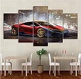 UGHJB Toile Peinture Mur Art Décor À La Maison Salon Photos 5 Pièces Rouge De Luxe Sport Voiture Affiches HD Imprimé sans Cadre