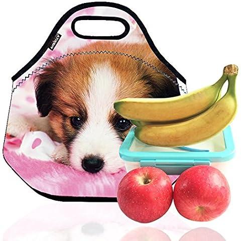 Ambielly El almuerzo Neopreno Bolsa / caja de almuerzo / almuerzo / picnic Bolsas Bolsas refrigerador aislado del organizador del recorrido, 1 Perro,