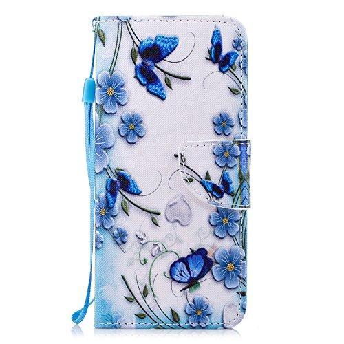 ShinyCase Handyhülle für Samsung Galaxy A8+/A8 Plus Hülle Brieftasche PU Schutz Etui Leder Flip Blauer Schmetterling Muster Cover mit Kartenfach Magnet Bookstyle Wallet Case Tasche Handytasche -