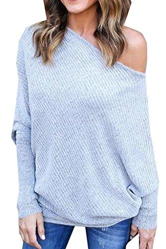 AHOOME Pullover Damen Reizvolle Schräg Shoulder ,Bat Sleeves Pull Sweatshirt Tuniken T-Shirt ,Schulterfrei Langarmhemd einfarbig Baggy Blouse 2017 Herbst Neue(gray,L)