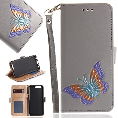 Price comparison product image Huawei P10 Case, Huawei P10 Wallet Case, Flip Leather Case for Huawei P10, BONROY [Butterfly Embossed] PU Leather Wallet Case Flip Cover Pouch Magnetic Closure Card Slots & Stand & Wrist Strap with Inner TPU Bumper Protective Case for Huawei P10