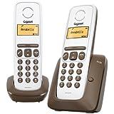 Gigaset A130 Duo Téléphone sans Fil DECT/GAP 2 Combinés Blanc/Chocolat