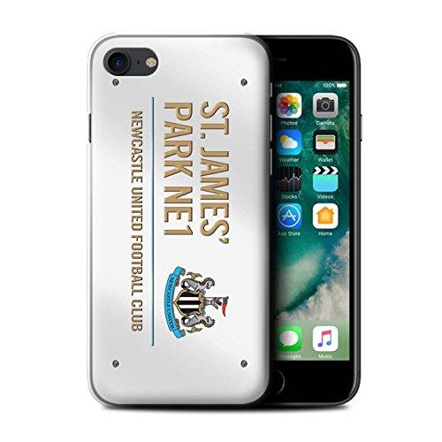 Offiziell Newcastle United FC Hülle / Case für Apple iPhone 7 / Schwarz/Blau Muster / St James Park Zeichen Kollektion Weiß/Gold
