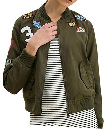 Damen Frauen Langarm BF Patchwork Leichtgewicht gedruckt Windbreaker Mantel Bomber Jacke Armeegrün