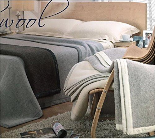 Coperta invernale matrimoniale 100% pura lana vergine merinos colore panna made in italy